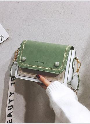 """Женская сумка """"фелиция"""" зеленая. сумочка через плечо зеленого цвета"""