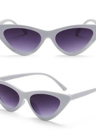 Солнцезащитные очки кошечки, цвет линзы сиреневый (унисекс), белая оправа