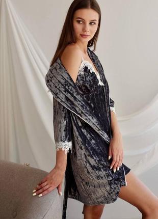 Роскошный бархатный пеньюар, халат, сорочка, ночнушка, пижама, домашний костюм