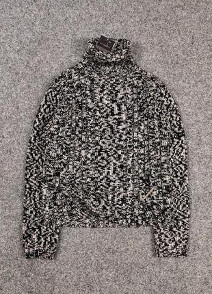 Оригинальный винтажный вязаный свитер с горлом burberry knitwear sweater black and white