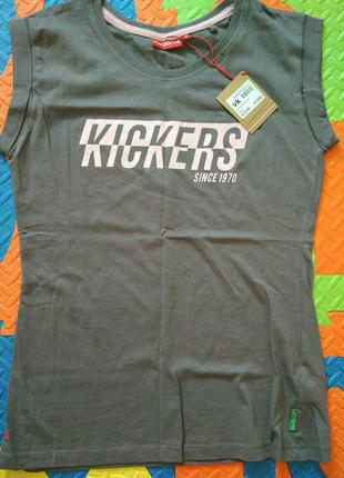Женская футболка kickers print t shirt ladies grey 8 (s) оригинал5