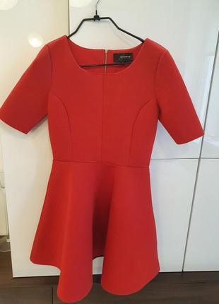 Reserved красное платье из неопрена р.s юбка клеш