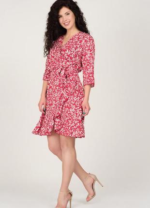 Красное мини-платье в принт | 45011