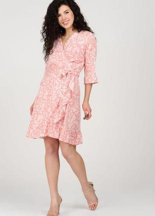 Розовое мини-платье в принт | 45025