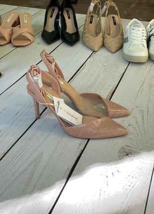 Открытые туфли-лодочки с силиконовой вставкой stradivarius пудра