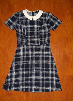 Платье клетка с воротничком