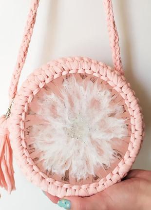 Сумка ручной работы вязаная розовая авторская летняя