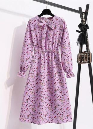 Лиловое летнее платье шифон миди цветы лілова сукня літо шифонове плаття