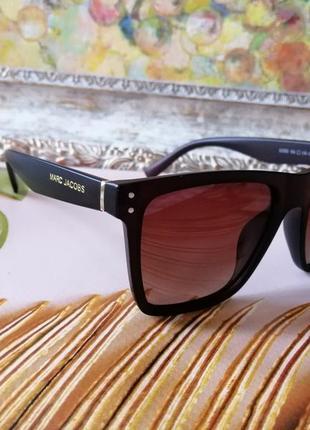 Эксклюзивные коричневые  брендовые мужские солнцезащитные очки на небольшое лицо
