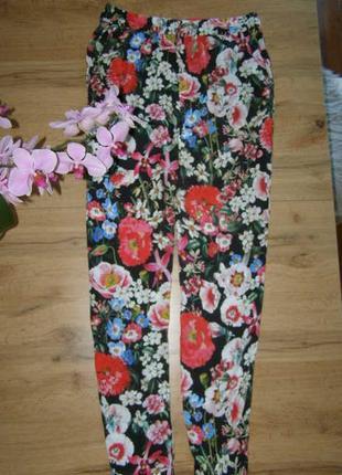 Zara  летние штаны брюки цветочный принт 100%  36-размер