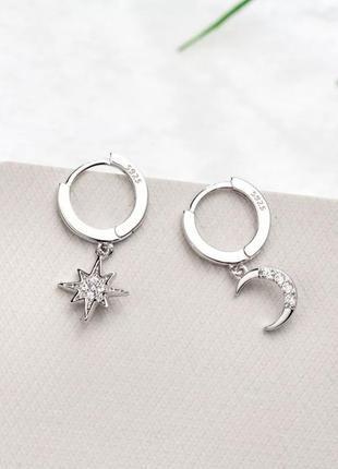 Ассиметричные серьги с луной и звездой, серебро