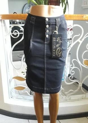 Джинсовая юбка ассиметрия  стреч рр27-28 распродажа остатков