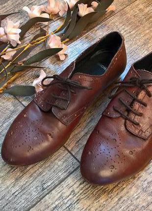 Bronx-стильные кожаные туфли на шнуровку,броги коричневые -38р