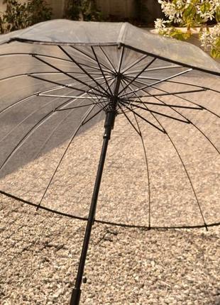 Прозрачный зонт зонтик / 16 спиц / есть чехол / парасолька парасоля