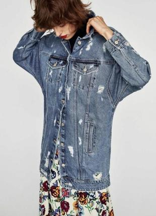 Удлиненная джинсовая куртка zara1 фото