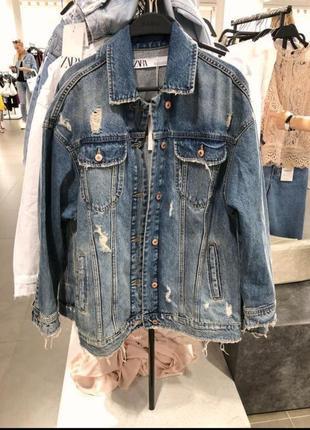 Удлиненная джинсовая куртка zara2 фото