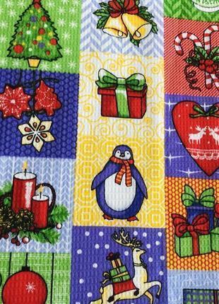 Рушник, кухоний рушник, кухонное полотенце, новогоднее полотенце, вафельное полотенце.