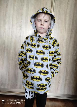 Кофта толстовка с капюшоном для мальчика бетмен