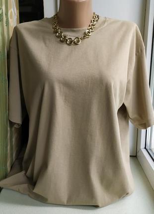 Женская футболка оверсайз хакки базовая классическая хлопковая fruit of the loom2 фото