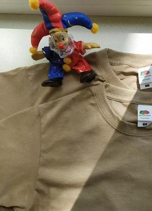 Женская футболка оверсайз хакки базовая классическая хлопковая fruit of the loom5 фото