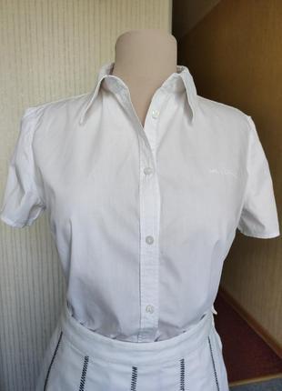 Белая рубашка marc o polo короткий рукав 100 коттон