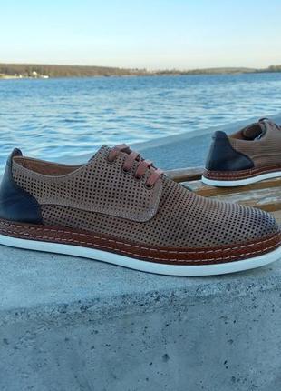 Мужские туфли кеды luciano bellini нубук, кожа с перфорацией коричневые