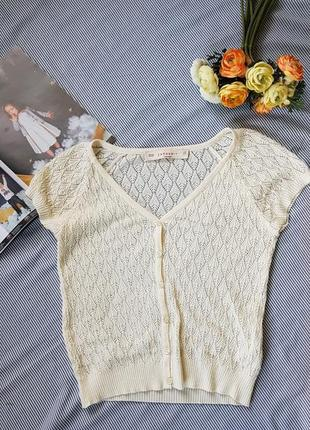 Классная вязаная актуальная блуза топ футболка