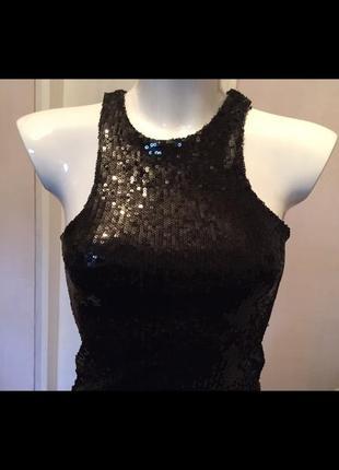 Платье чёрное в пайетках bershka collection s/26/mex/44/36