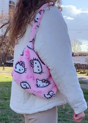 Плюшевая мягкая пушистая сумка hello kitty хелло китти розовая