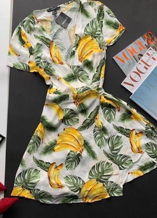 👗стильный белый ромпер с декольте/комбез экзотические листья с бананами/комбинезон листья