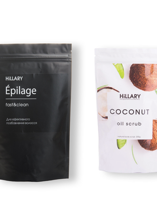 Скраб для тіла кокосовий hillary coconut oil scrub, 200 г + гранули для епіляції