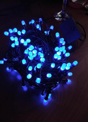 Гирлянда синяя 200 лампочек