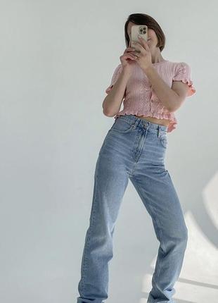 Голубые джинсы прямого кроя клеш4 фото