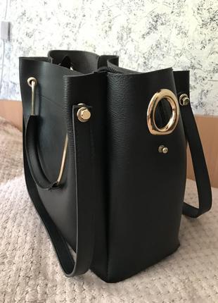 Чёрная сумка мешок 2в1 на учебу и работу