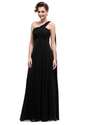 """Вечернее длинное платье из шифона со шлейфом на одно плечо """"6"""" usa 42-44р"""
