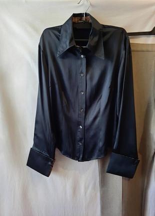 Шелковая черная рубашка из натурального шелка