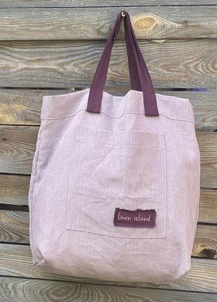Эко сумка 100% лен высокого качества пудрово-розовая