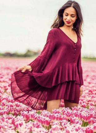 Шифоновое плиссированное платье блуза плиссе туника бургунди