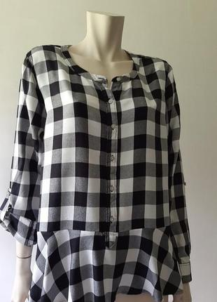 💜💖❤ невероятно мягкая стильная рубашечка блузка в чёрно-белую клетку