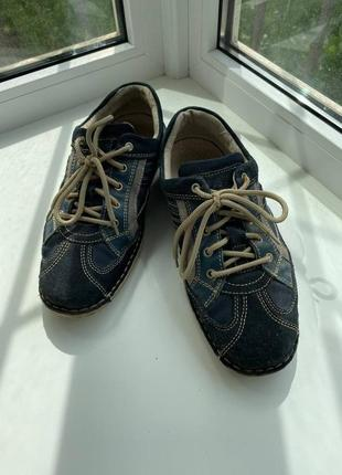 Мужские замшевые синие туфли, на лето-осень