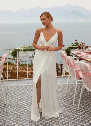 Шовкова сукня / удлиненное белоснежное платье доставка безкоштовна