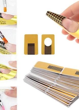 Формы для ногтей узкие, 50 шт, цвет золотистый