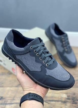 Туфли кеды мужские dito кожа + текстиль
