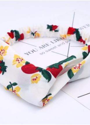 Трендовая повязка-чалма на голову белая клубника цветы / большая распродажа!