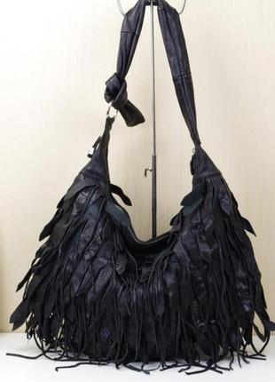 Кожаная замшевая натуральная сумка с бахромой шоколадного цвета