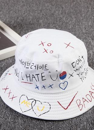 Панама панамка шляпа шапка белая принт хайп качественная новая
