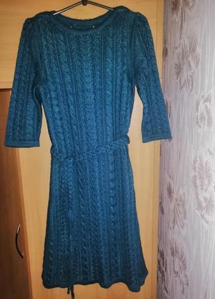Вязаное платье, вязаное платье 44 размера, синее вязаное платье