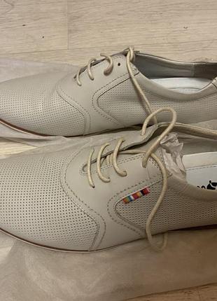 Мужские туфли мокасины кеды кожаные летние бежевые