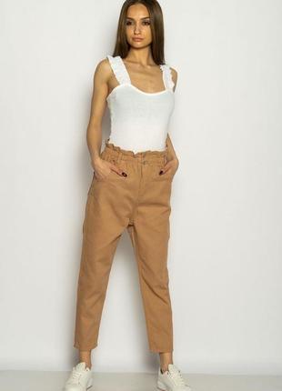 Женские светло коричневые джинсы с высокой посадкой