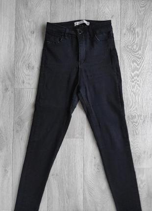 Стиляжные черные джинсы скинни штаны в обтяжку с высокой посадкой в обтяжку джеггинсы